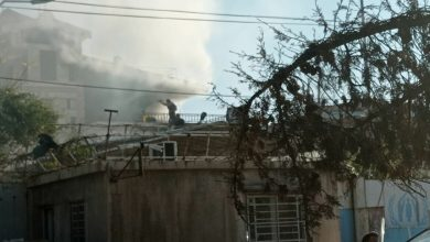 """Photo of A fire in the """"UNHCR"""" in Al-Hasakah"""